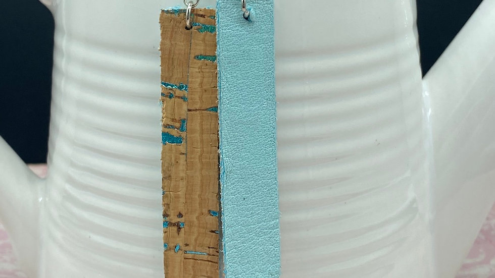 Natural/Aqua Cork on Cowhide Bar Dangle