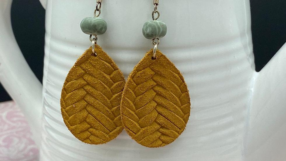 Mustard/Green Dangle Leather Earrings
