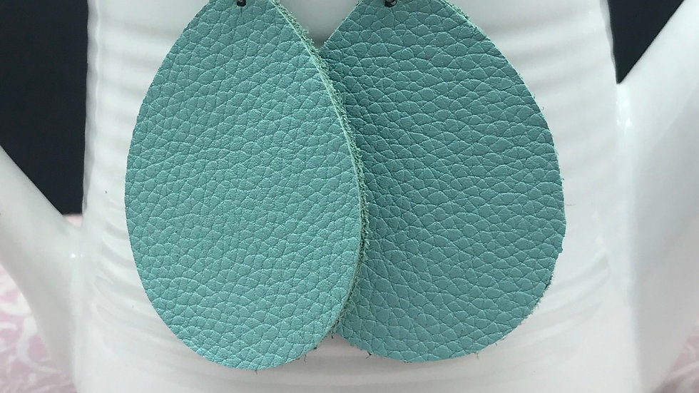 Turquoise Leather Statement Earrings