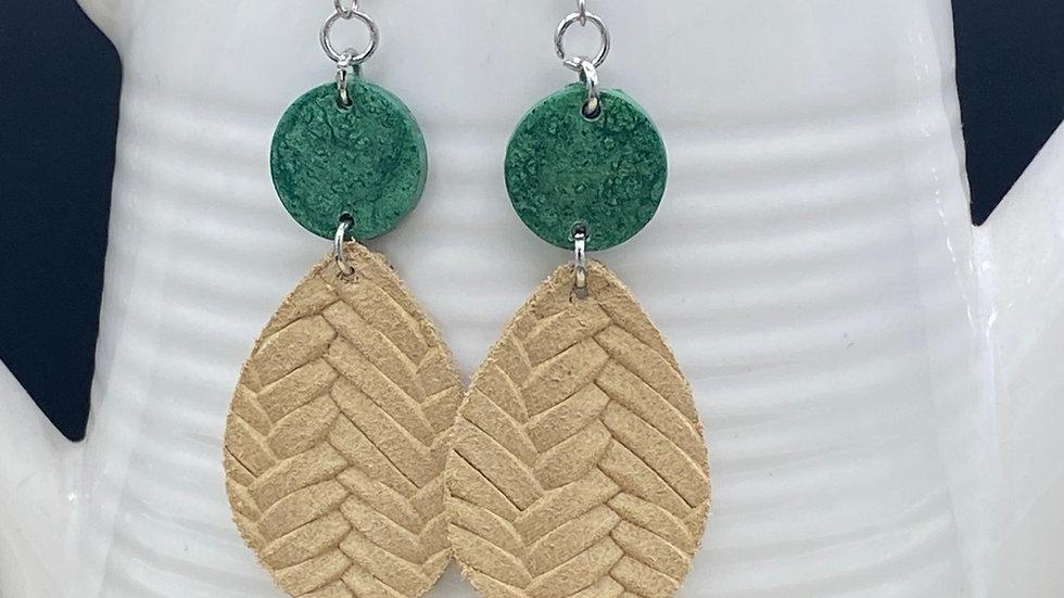 Natural/Green Dangle Earrings