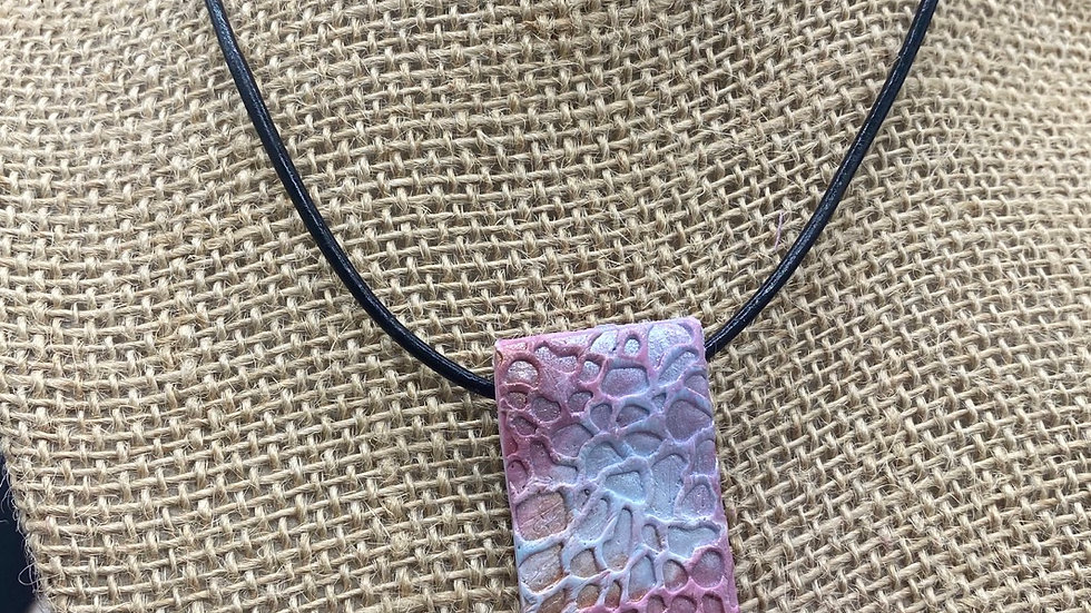 Textured Clay Pendant Necklace
