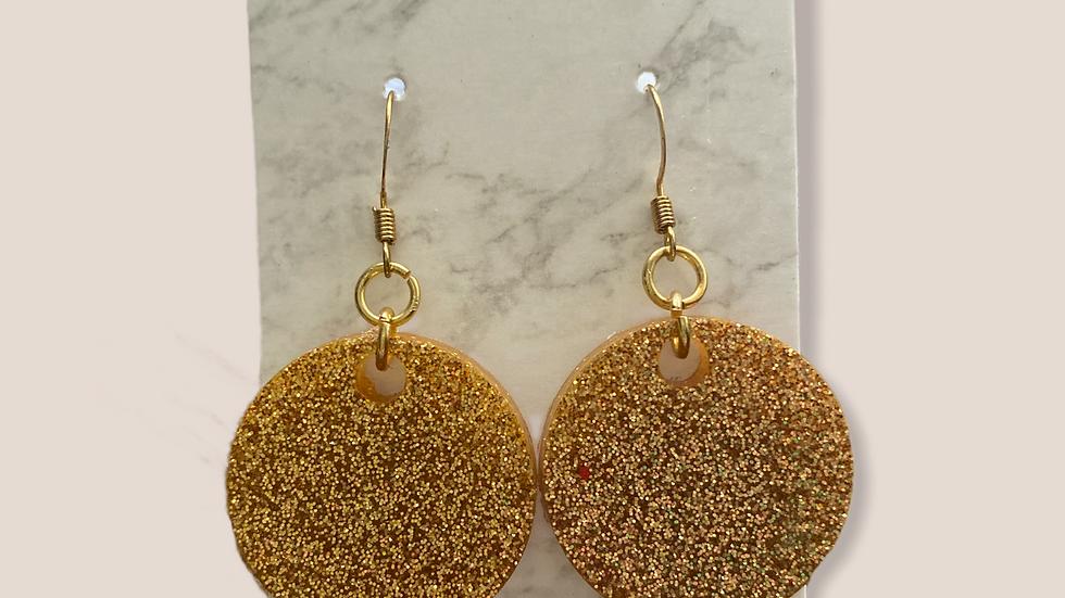 Gold Glitter Dangle Earrings