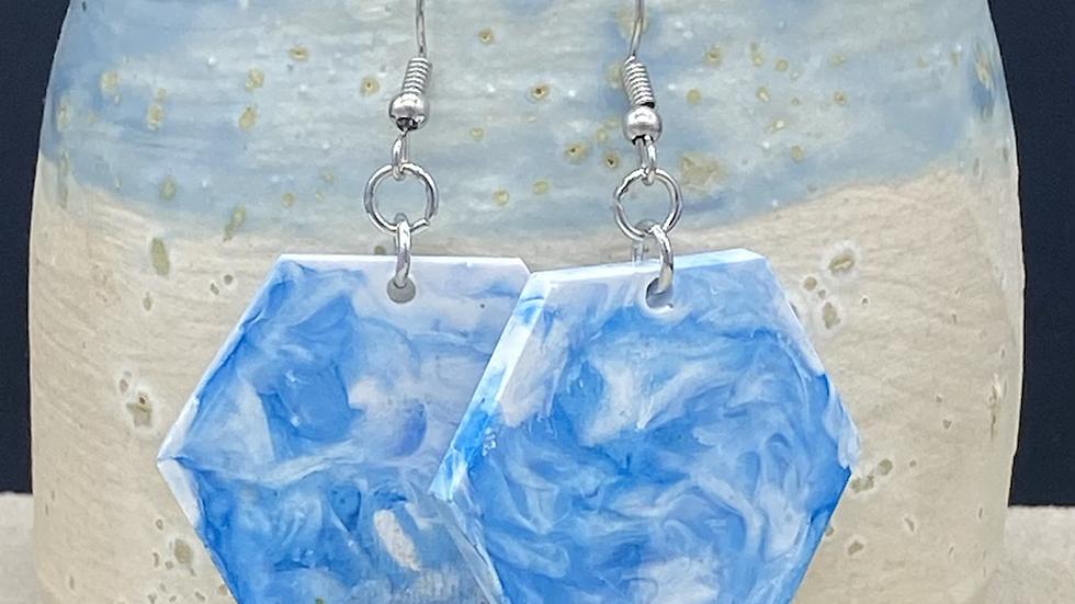 Blue swirl hexagon earrings