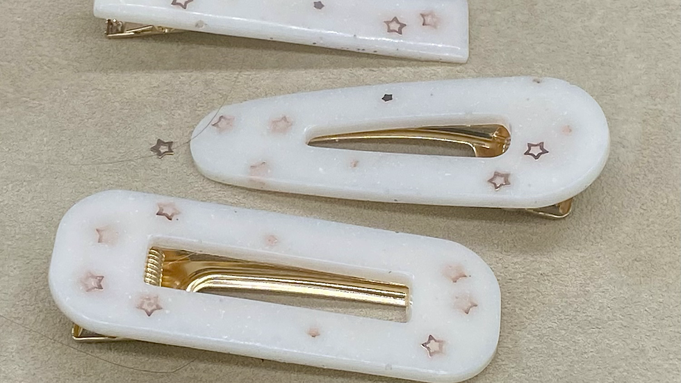 Hair Clips ~ White/Gold ~ set of 3