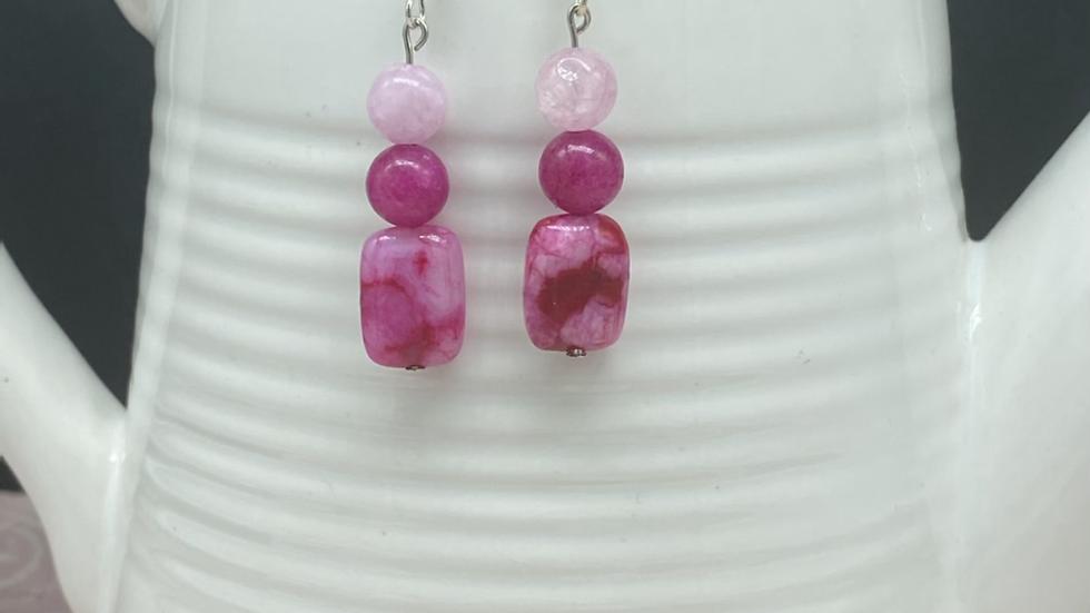 Multi Pink Bead Earrings