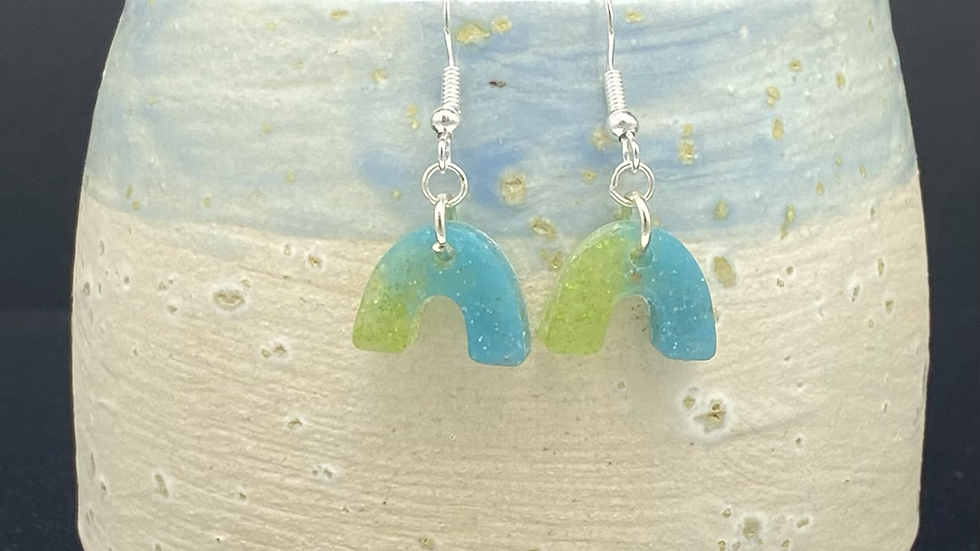Mini Arch Earrings ~ blue/green