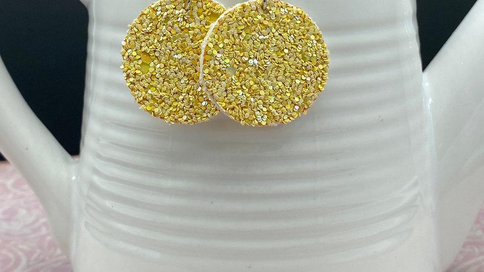 Yellow Glitter Round Earrings