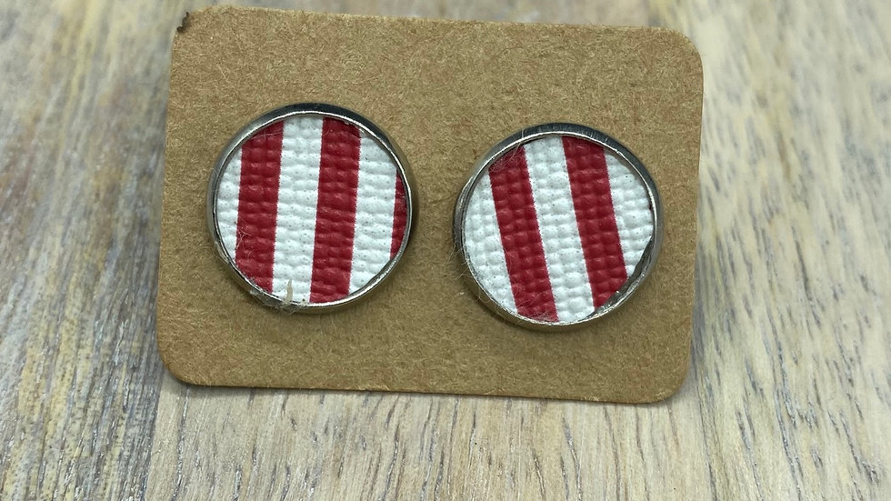 Red/White Stripe Button Stud Earrings