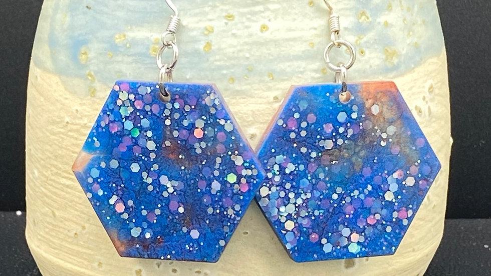 Hexagon Earrings ~ Multi Blue