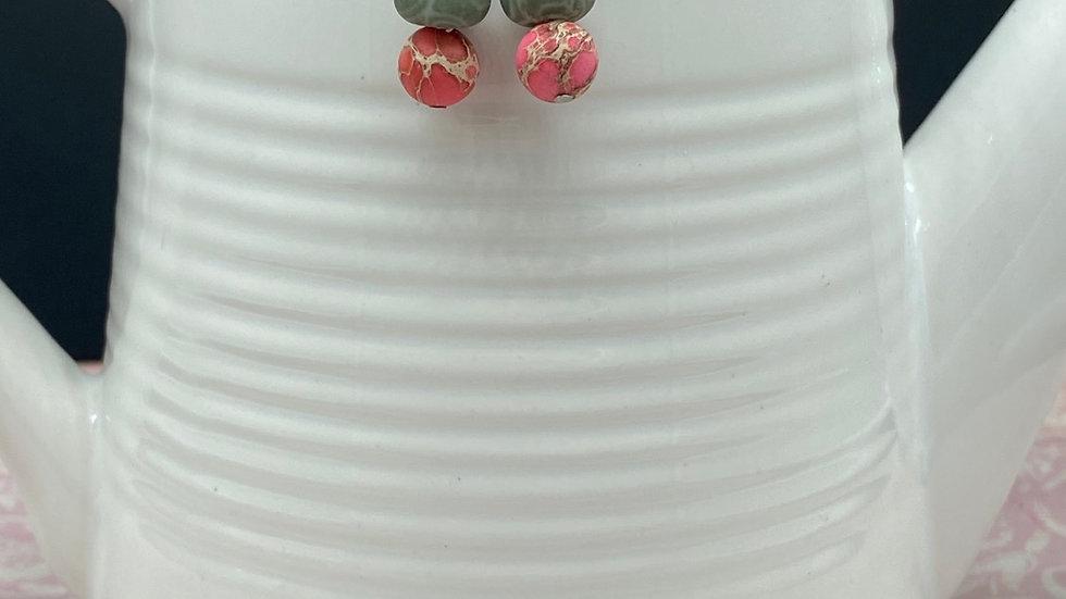 Petite Green/Pink Stone Earrings