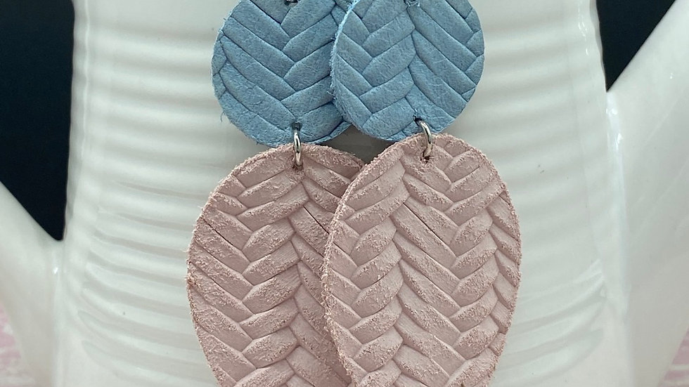 Baby Blue/Pale Pink Leather Combo Earrings