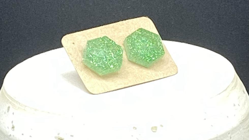 Hexagon Stud Earrings  ~ Green Glitter