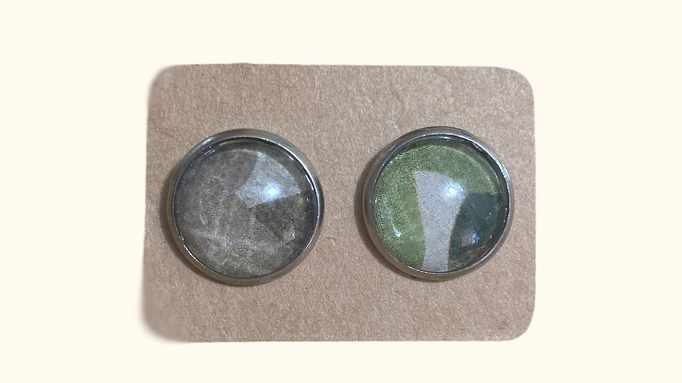 Button Earrings ~ Camo