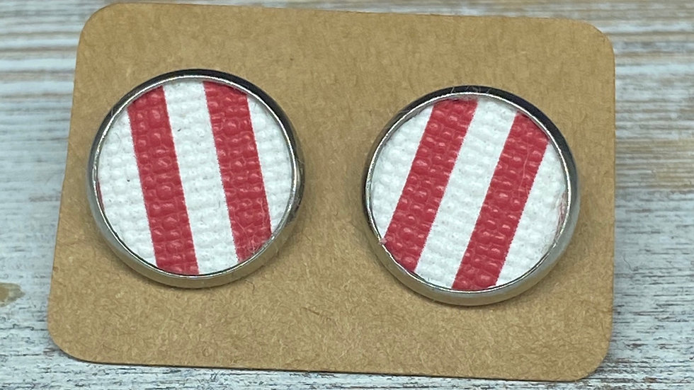 Red/White Button Earrings