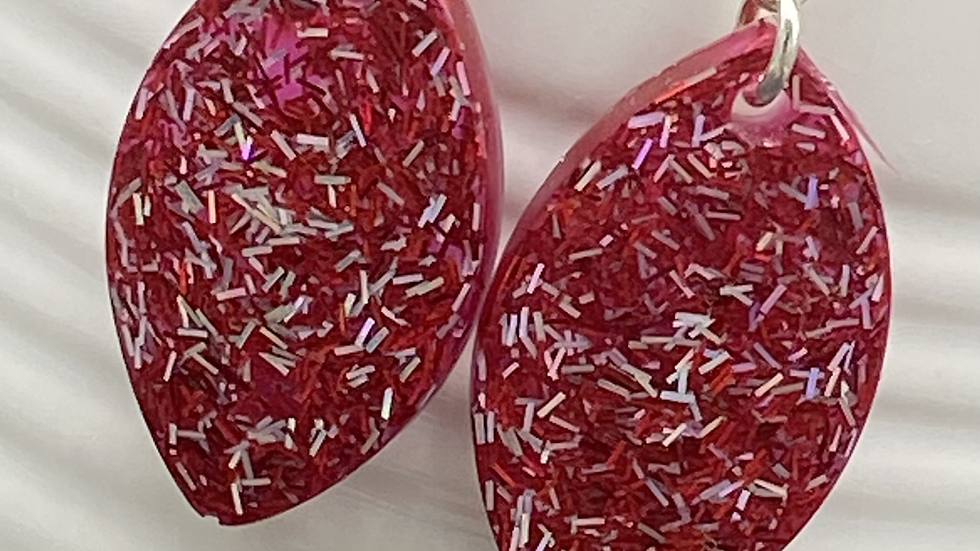 Red Glitter Earrings ~ Oval