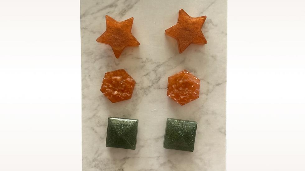 Trio Stud Earrings ~ star, hexagon, square