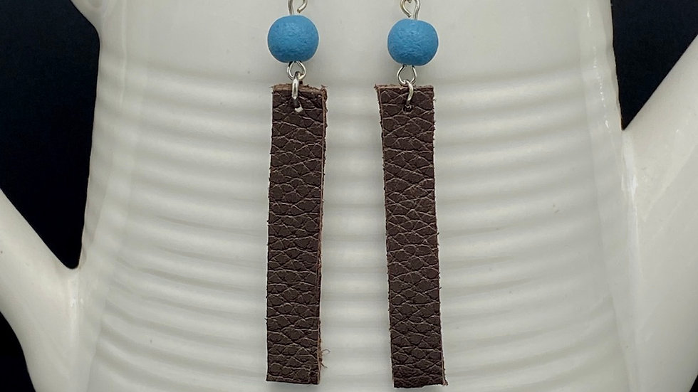 Brown/Blue Leather Bar Earrings