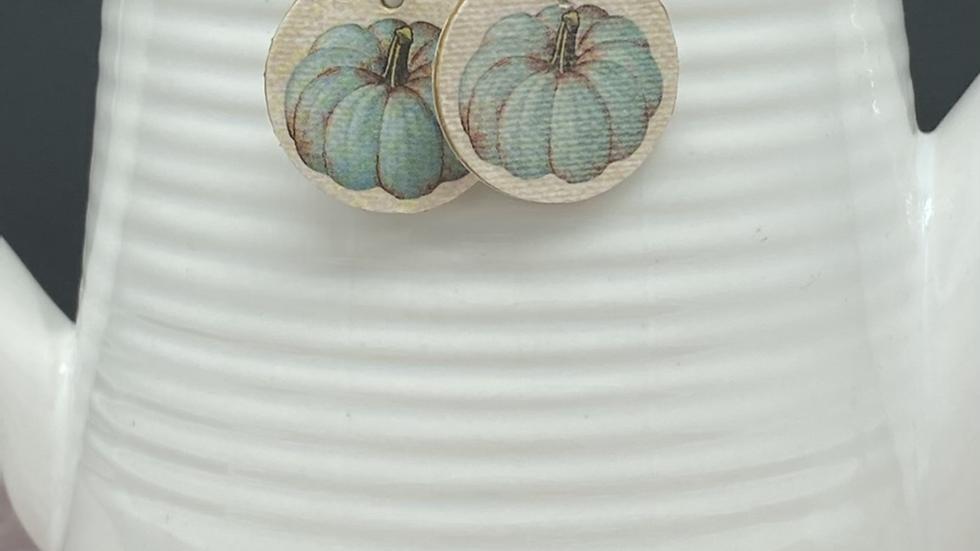 Vintage Blue Pumpkin Earrings