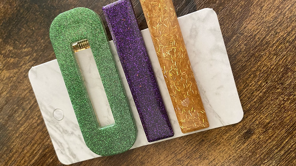 Multi Hair Clips ~ Green, Purple, Gold
