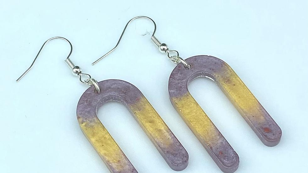 Purple/Yellow Arch Earrings ~ Resin