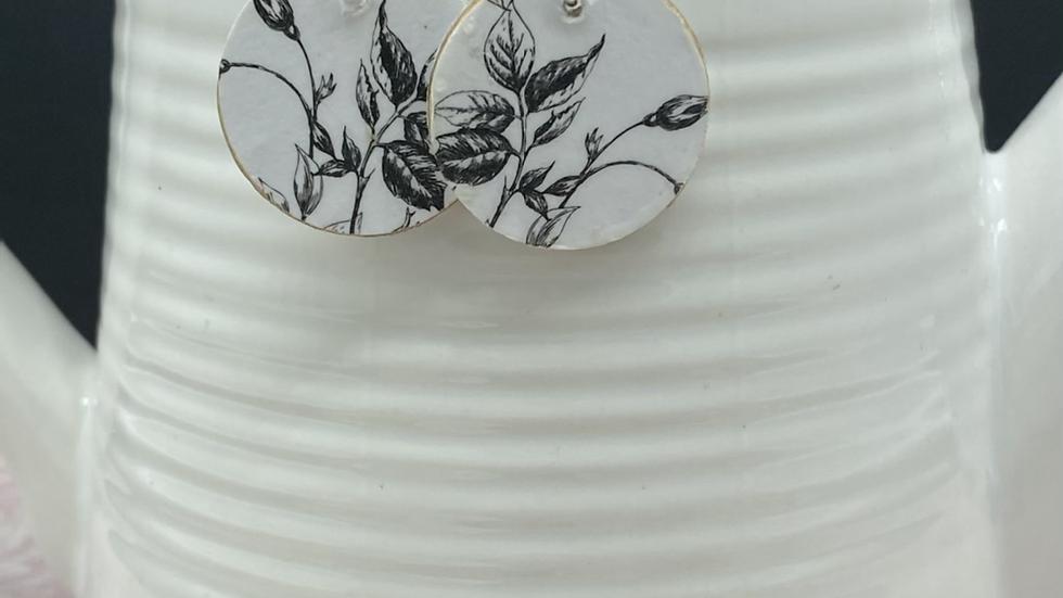 Black/White Floral Wood Earrings
