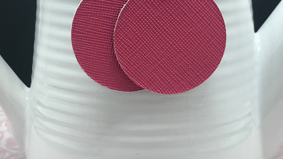 Pink Embossed Leather Round