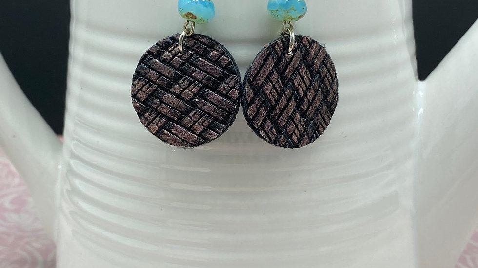 Brown/Blue Round Dangle Earrings