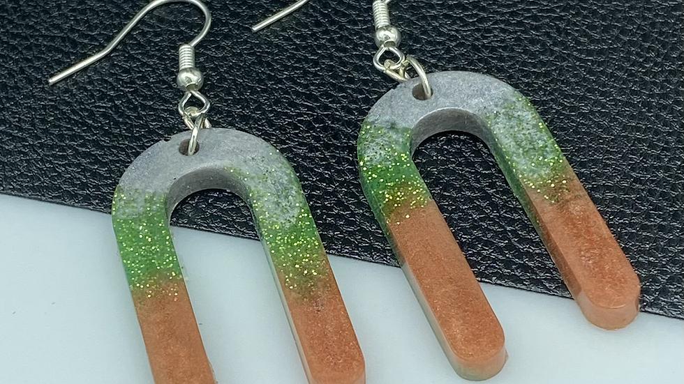 Multi Arch Resin Earrings ~ Rust/Gree/Gray