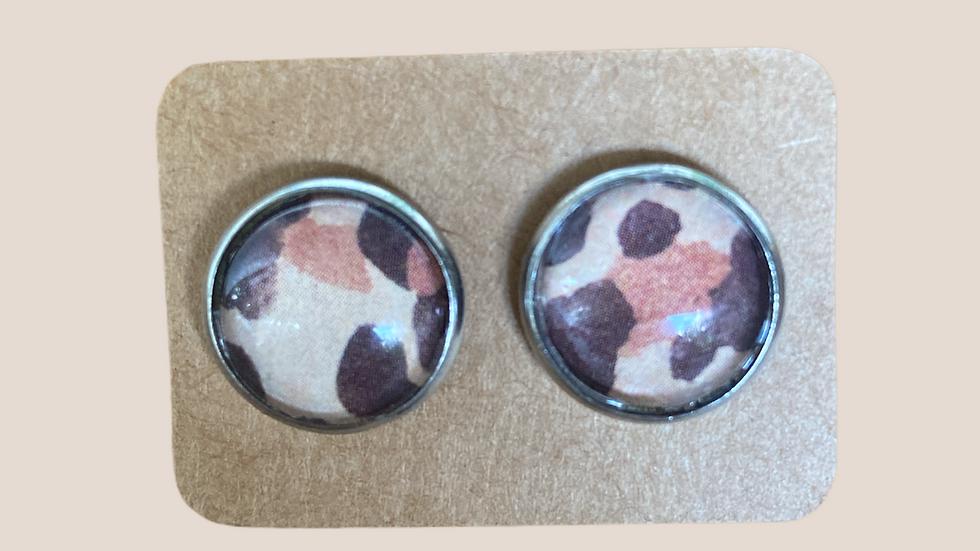 Button Earrings ~ Leopard