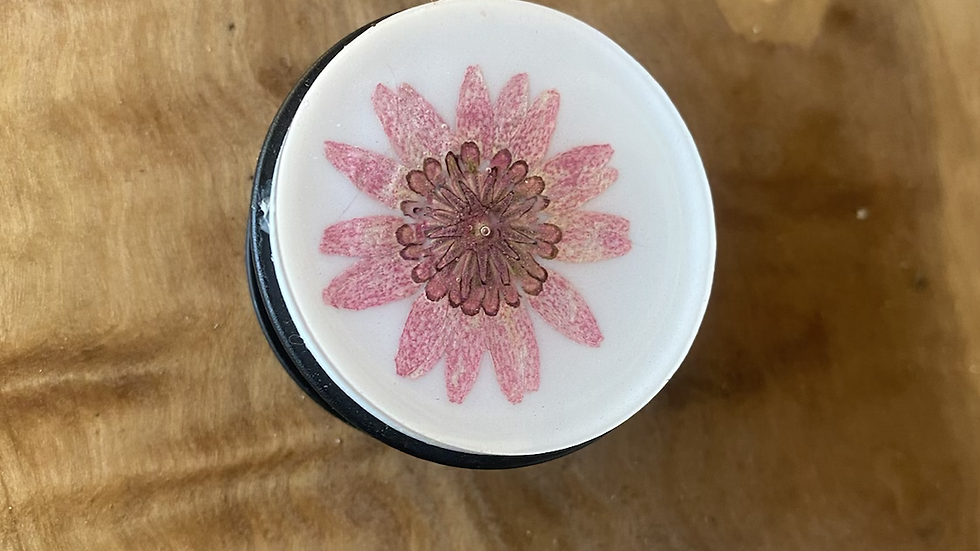 Botanical Phone Grip ~  Pink / white ~ black base