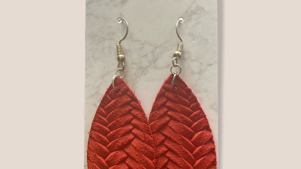 Red Fishtail Earrings ~ Genuine Leather