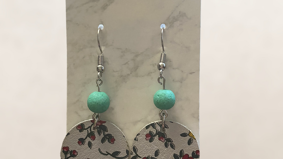 Floral Dangle Earrings ~ Genuine Leather