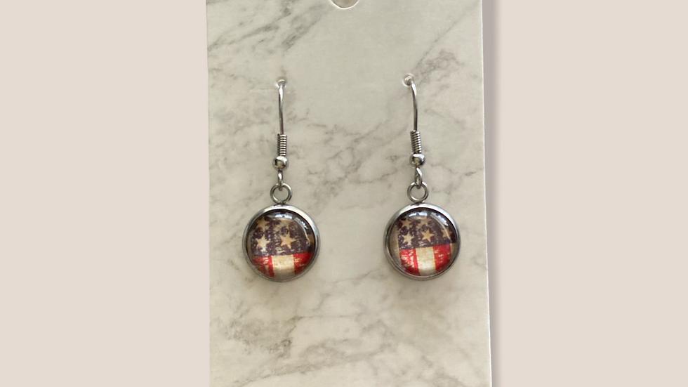Mini Dangle Earrings ~ Flag