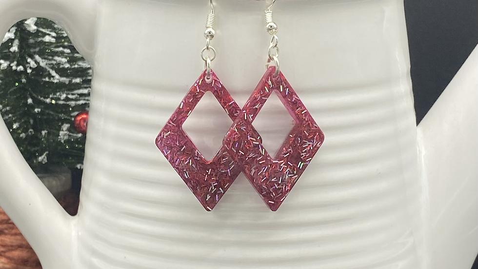 Red Glitter Earrings ~ Diamond