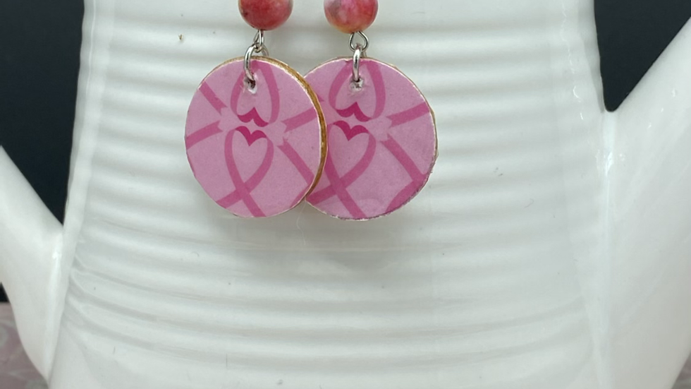 Breast Cancer Awareness Two Tone Earrings ~ with bead