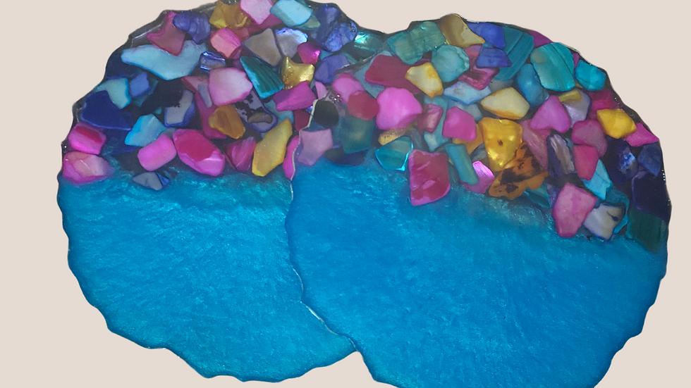 Blue/Shell Coaster Set ~ Set of 2