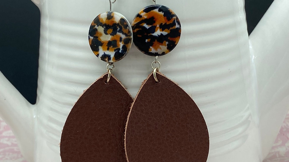 Leopard/Brown Combo Dangle Earrings