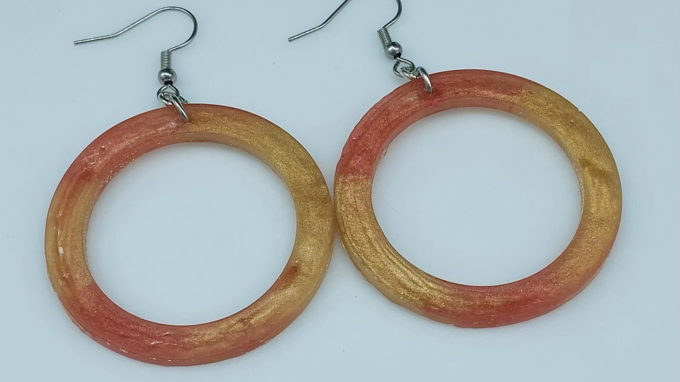 Two Tone Resin Hoops ~ Orange/Yellow