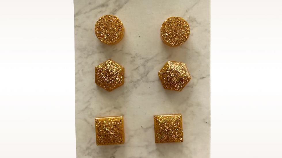 Trio Stud Earrings ~ Gold Sparkle
