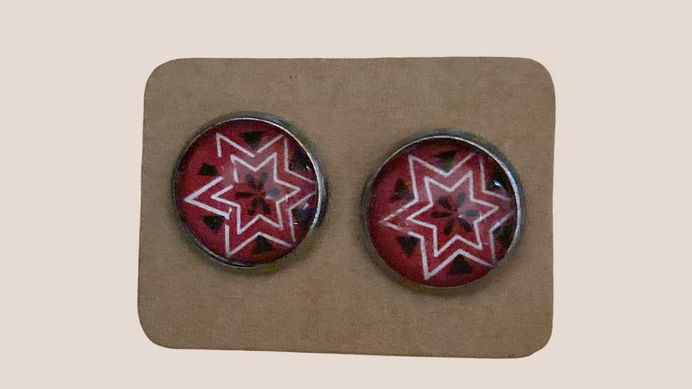 Button Earrings , Star