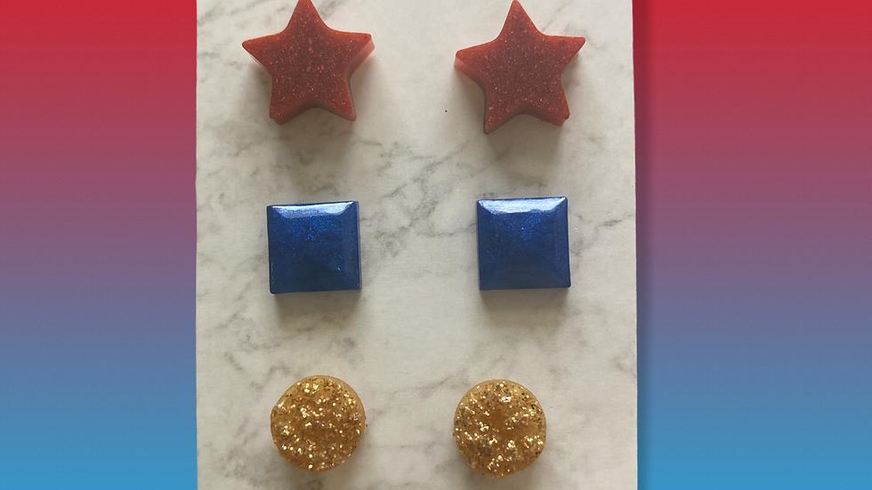 Trio Stud Earrings ~ Patriotic