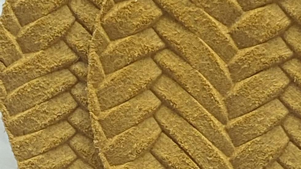 Mustard Leaf Shaped Leather Earrings