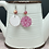 Thumbnail: Breast Cancer Awareness Two Tone Earrings ~ with bead