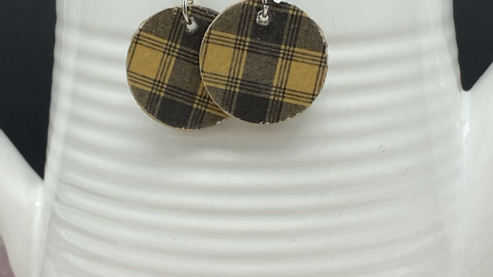 Dark Plaid Wood Earrings