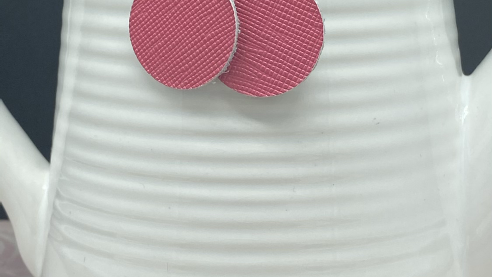 Petite Pink Round Earrings - Leather