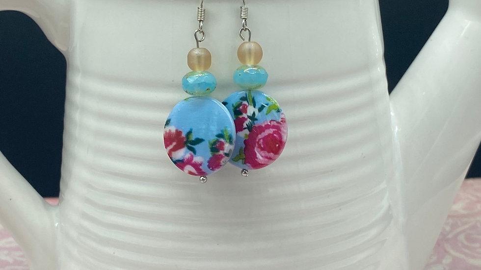 Pink/Blue Floral Dangle