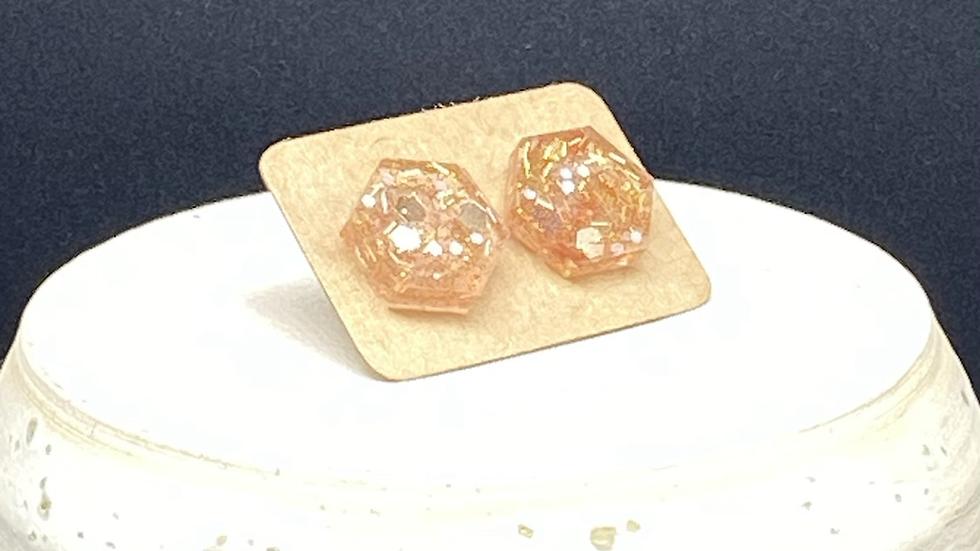 Hexagon Stud Earrings ~ Gold Glitter