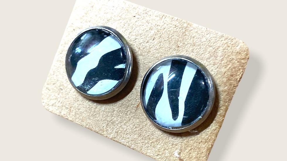 Button Earrings ~ Zebra