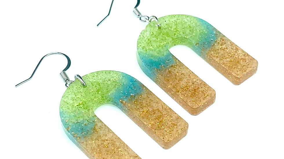 Multi Colored Arch Earrings  ~ Resin