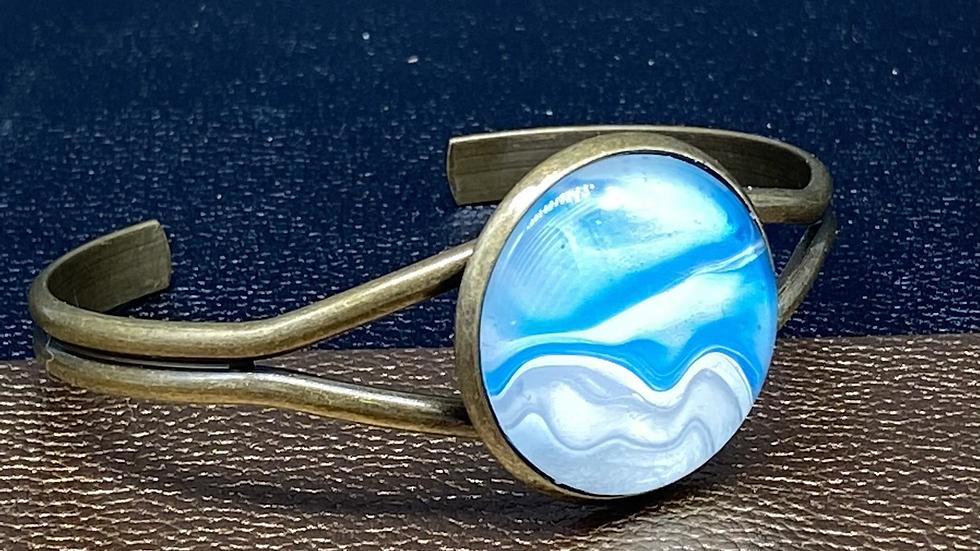 Fluid Paint Bangle Bracelet ~ Blue/Gray